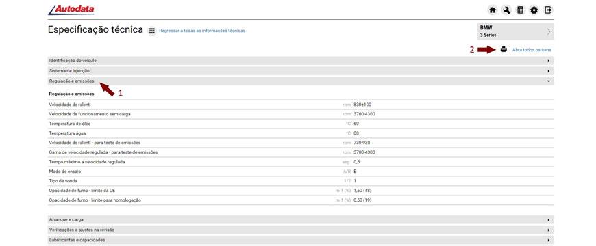 Imprimir dados técnicos no Autodata Online